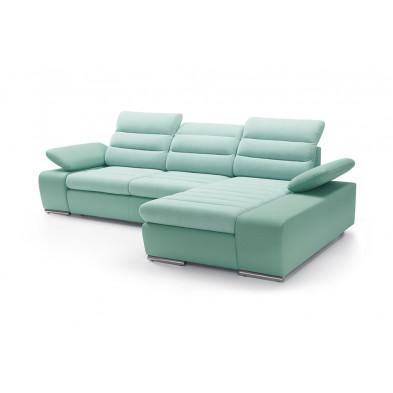 Canapés d'angle convertibles vert design en acier 3 places L. 282-183 x P. 95-110 x H. 86-100 cm collection BERGAMO