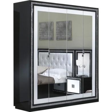 Armoire adulte blanc design en panneaux de particules de haute qualité L. 180 x P. 59 x H. 210 cm collection Saliha