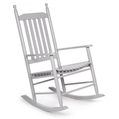 Chaise à bascule pour adulte classique gris en bois massif hêtre L. 59 x P. 83 x H. 100 cm Collection Warquignies