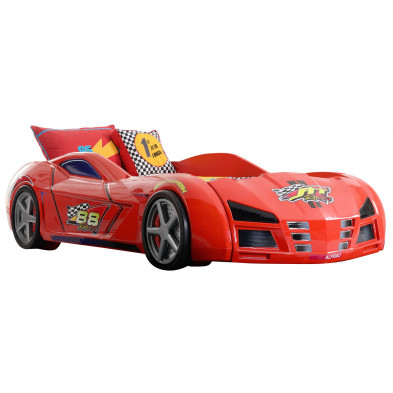 Lit voiture 90x200 cm rouge design en panneaux de particules mélaminés de haute qualité collection Codebeda