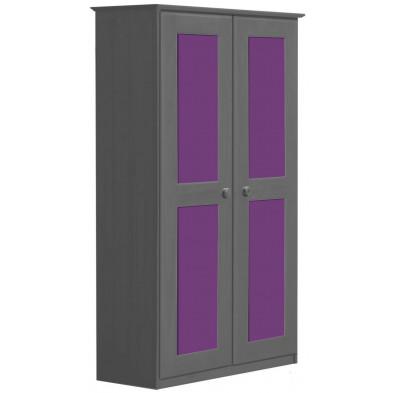 Armoire contemporaine violet en bois massif   L. 86 x H. 196 cm collection Genoveffa