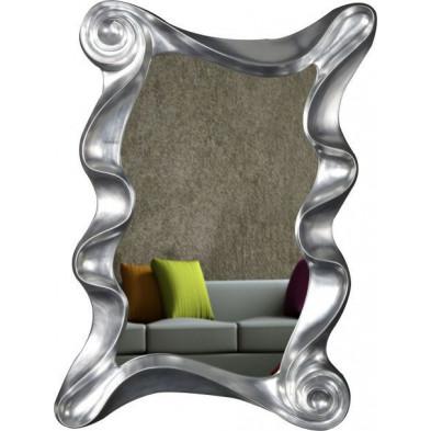 Miroir mural ultra design coloris argent L. 106 x P. 7 x H. 160 cm collection Bazuin