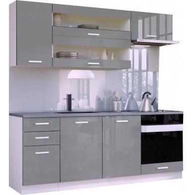 Ensemble cuisine ultra moderne coloris blanc mat et gris laqué L. 200 x P. 60 cm collection Arronches