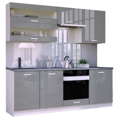 Ensemble cuisine ultra moderne coloris blanc mat et gris laqué L. 220 x P. 60 cm collection Arronches