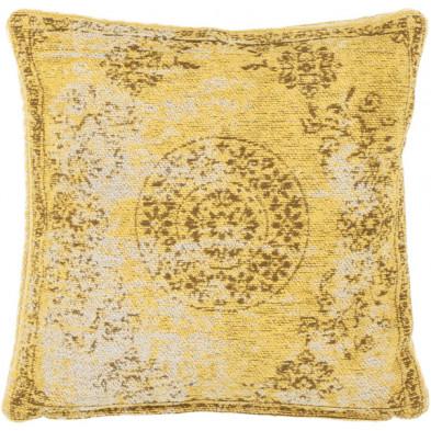 Coussin et oreiller jaune vintage tissé à la main en 50% coton et 50% polyester chenille L. 45 x P. 45 x H. 0 cm collection Hawnby