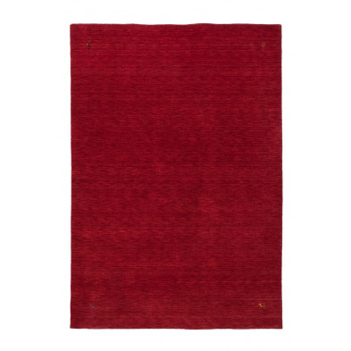 Tapis unicolore rouge vintage tissé à la main en laine  L. 150 x P. 80 x H. 1,3 cm collection Geraldino