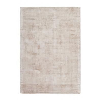 Tapis unicolore beige design tissé à la main en viscose 290 cm de largeur collection Jacintha