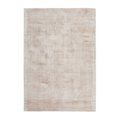 Tapis unicolore beige design tissé à la main en viscose L. 150 x P. 80 x H. 0,9 cm  collection Jacintha