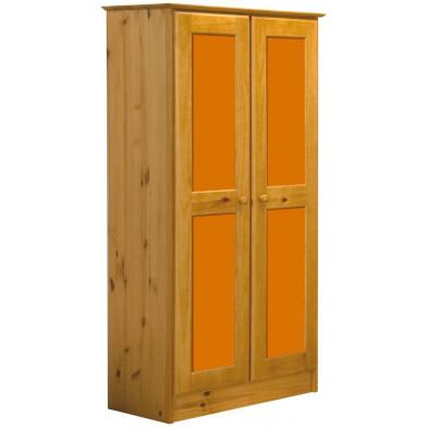 Armoire enfant orange contemporaine en bois massif pin L. 54 x H. 196 cm collection Genoveffa