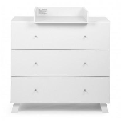 Commode et table à langer blanc en bois mdf L. 100 x P. 57/77 x H. 93 cm collection Zurie