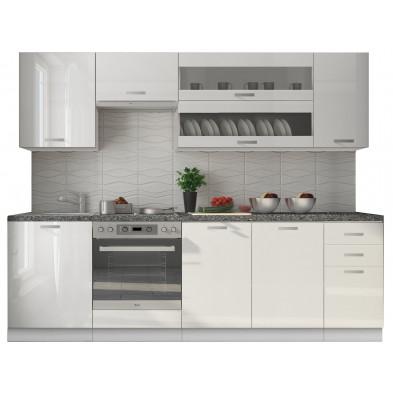 Ensemble cuisine complète ultra moderne coloris blanc mat et blanc laqué  L. 260 x P. 60 cm collection Dekuijper