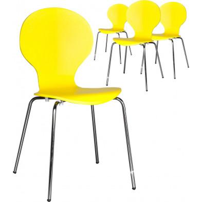 Lot de 4 chaises design en bois et métal coloris  jaune L. 85 x H. 50 cm collection Schendelbeke