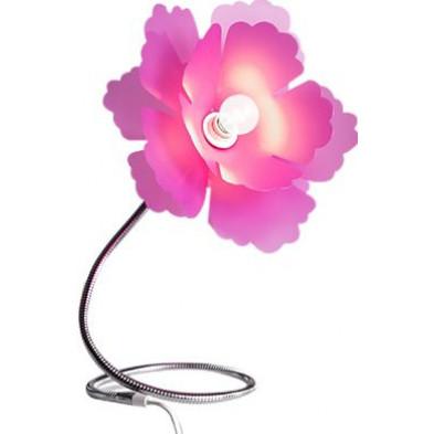 Lampe de table design fleur coloris rose L. 30 x P. 40 x H. 55 cm collection Creelman