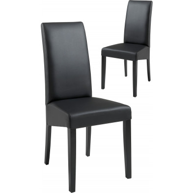 Lot de 2 Chaises de salle à manger moderne Noir Design L. 48 x P. 48 x H. 100 cm collection Ursem