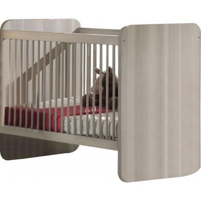 Lit bébé gris contemporain en panneaux de particules  L. 127 x P. 68 x H. 96 cm collection Morville