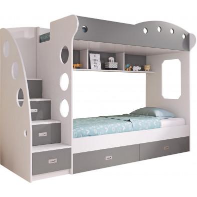 Lit superposé design coloris gris et blanc avec 2 couchage en bois mdf  collection LILI