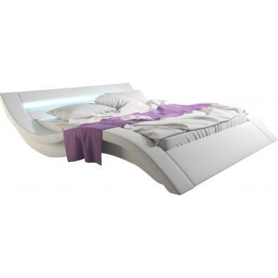 Lit adulte 160x200 cm blanc design en pvc Nieuwolda