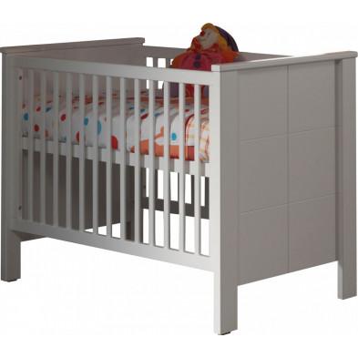 Lit bébé 60x120 cm blanc moderne en panneaux de particules mélaminés de haute qualité collection Doppenberg