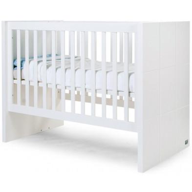 Lit bébé blanc évolutif design blanc en bois mdf et panneaux de particules de haute qualité 60x120 cm collection Dumoulin