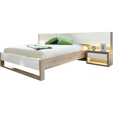 Lits blanc moderne L. 307 x P. 215 x H. 78 cm collection Youngstown