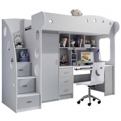 Lit surélevé blanc et gris design en bois mdf L. 250,5 x P. 100 x H. 193 cm collection LOLO