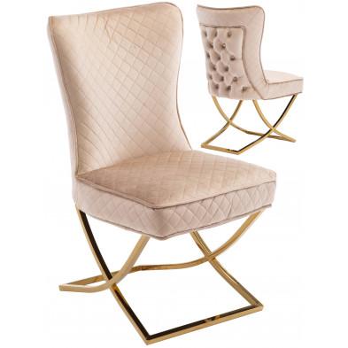 Chaise de salle à manger design avec capitonnage à l'arriere revetement en velour marron et piètement croisée en acier inoxydable doré collection LORENZO