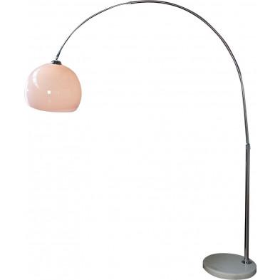 Lampadaire design en métal et acrylique coloris blanc L. 160 x H. 185-205 cm collection Leach