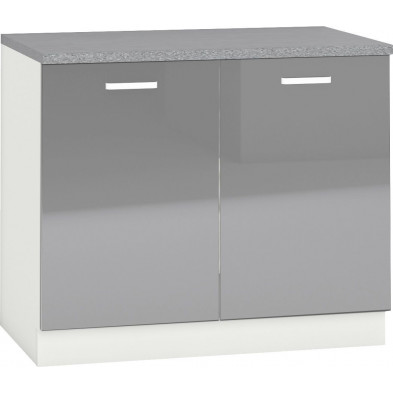 Meuble bas de cuisine design avec 2 portes coloris blanc mat et gris laqué Façade Finition : laqué haute brillance + Caisson en panneaux de particules 16mm recouverts de mélaminé L. 100 x P. 60 x H. 82 cm collection Arronches