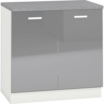 Meuble bas de cuisine design 2 portes coloris blanc mat et gris laqué Finition façade : laqué haute brillance + Caisson en panneaux de particules 16mm recouverts de mélaminé  L. 80 x P. 60 x H. 82 cm collection Arronches