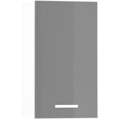Meuble haut de cuisine design 1 porte coloris blanc mat et gris laqué L. 40 x P. 30 x H. 72 cm collection Arronches