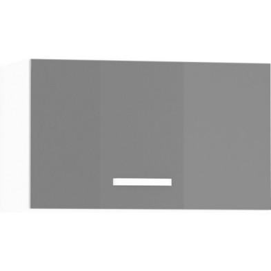 Meuble haut de cuisine design pour hotte avec 1 porte horizontale coloris blanc mat et gris laqué L. 60 x P. 30 x H. 36 cm collection Arronches