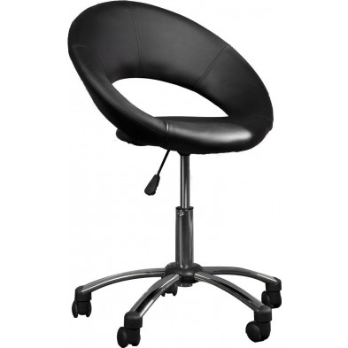 Chaise de bureau design tabouret coloris noir L. 60 x P. 49 x H. 91 cm collection Cheun