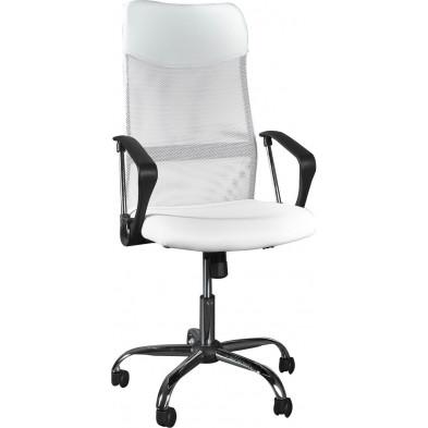 Chaise bureau coloris blanc design moderne L. 66 x H. 119 cm collection Estefania