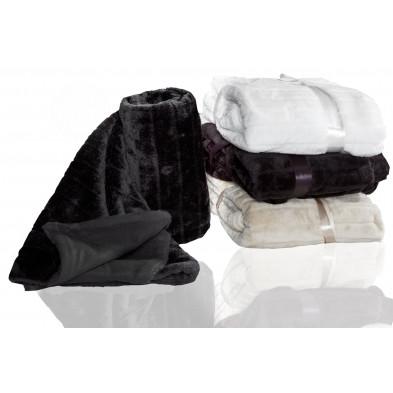 Couvre-lit 130x160 cm doux en polyester antistatique Noir collection Clazina