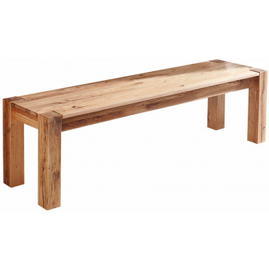Banc en bois massif huilé  coloris naturel L. 160 x P. 40 x H. 45 cm collection Canvab