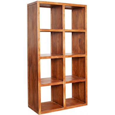 Bibliothèque contemporaine en bois massif coloris naturel L. 80 x P. 40 x H. 150 cm collection Loiu