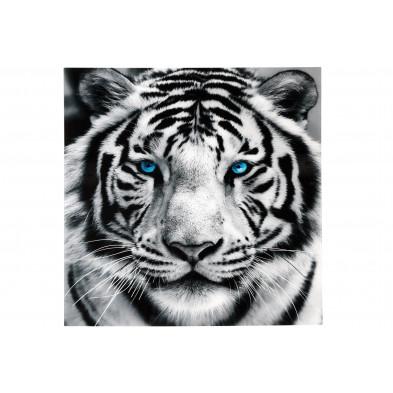 Tableau moderne en verre trempé tigre blanc L. 80 x P. 1 x H. 80 cm collection Audrick