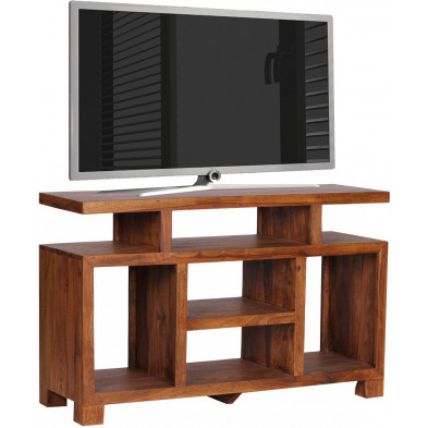 Meuble tv marron contemporain en bois massif L. 120 x P. 40 x H. 76 cm collection Fluttering