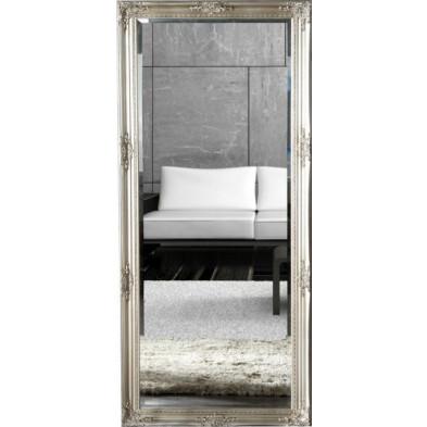 Miroir mural argenté moderne en bois massif L. 76 x H. 185 cm collection Vanhall