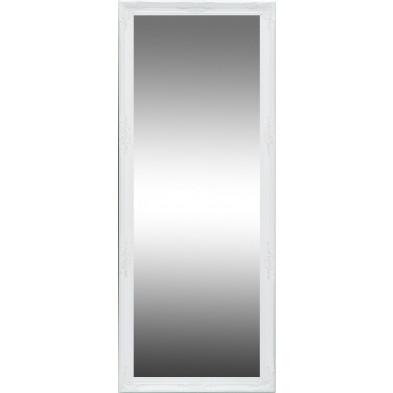 Miroir mural blanc moderne en bois massif L. 76 x H. 185 cm collection Rozenburg