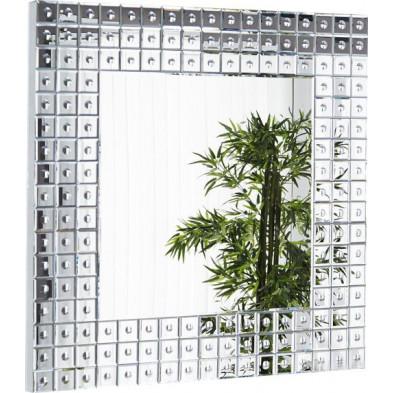 Miroir mural design carré avec verre transparent 109x109 cm collection Letters