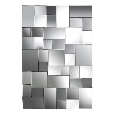 Miroir mural argenté design effet 3D L.80 x P. 3 x H. 120 cm collection Contend