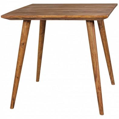 Table en bois marron rustique en bois massif L. 80 x P. 80 x H. 76 cm collection Seck