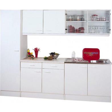 Pack complets de cuisine blanc moderne en panneaux de particules de haute qualité L. 250 x P. 50 x H. 200 cm collection Spijkstra