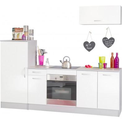 Ensemble cuisine moderne coloris blanc laqué  L. 240 x P. 60 x H. 205 cm collection Bradenton