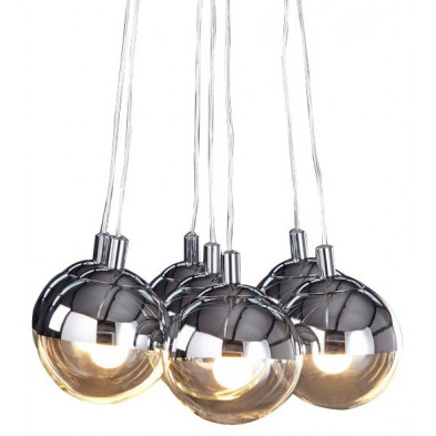 Suspension à 6 boules design en acier chromé collection Boomsma