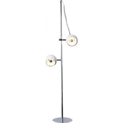 Lampadaire rétro en métal design 156 cm spot coloris blanc collection Vanderwouden