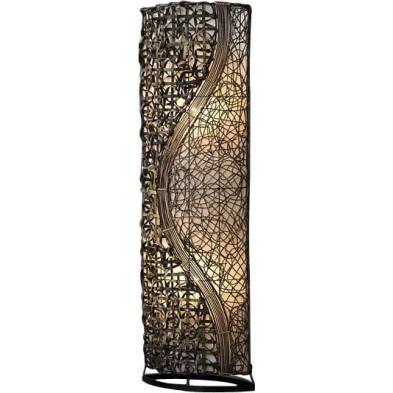 Lampadaire colonne en tissu rotin et métal coloris blanc L. 45 x P. 20 x H. 150 cm collection Winder