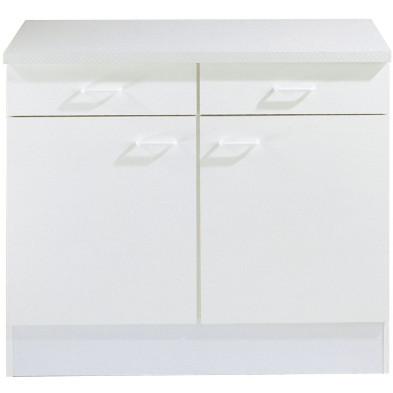 Meuble bas blanc classique en panneaux de particules de haute qualité  L. 100 x P. 50 x H. 85 cm collection Spijkstra