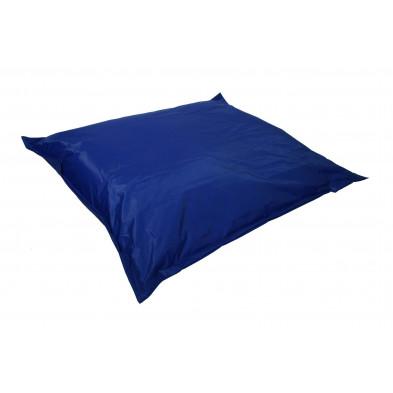 Pouf  et coussin relax bleu moderne L. 150 x P. 150 x H. 30 cm collection Maarten